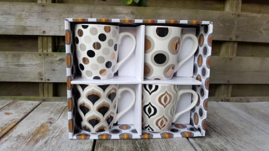 Set van 4 Mokken zwart/grijs