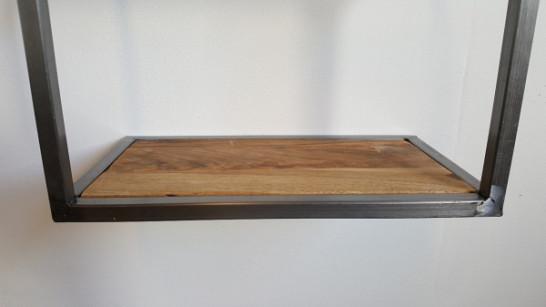 Wandrek Metaal - Houten plank - Breed